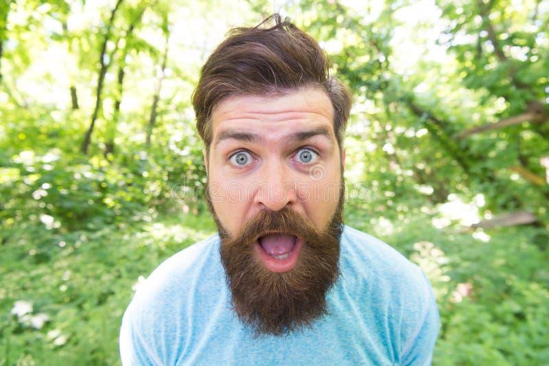 Ga wild Gekke gebaarde mens in natuurlijk milieu Hipster met lange dichte omhooggaande de aardachtergrond van het baard emotionel stock fotografie