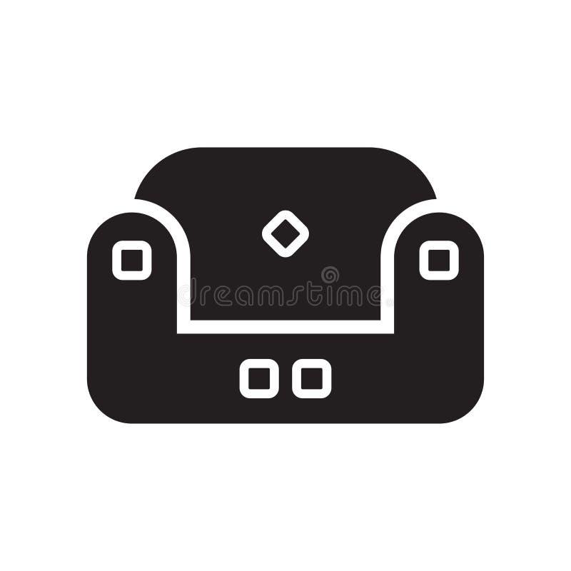 Ga zitten pictogram op witte achtergrond wordt geïsoleerd die royalty-vrije illustratie