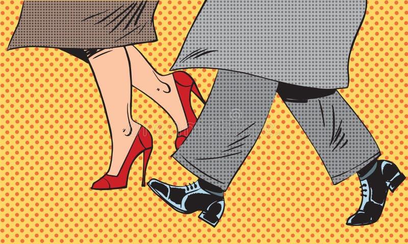 Gaan de voeten man en vrouwenschoen slecht pop weerstraat vector illustratie