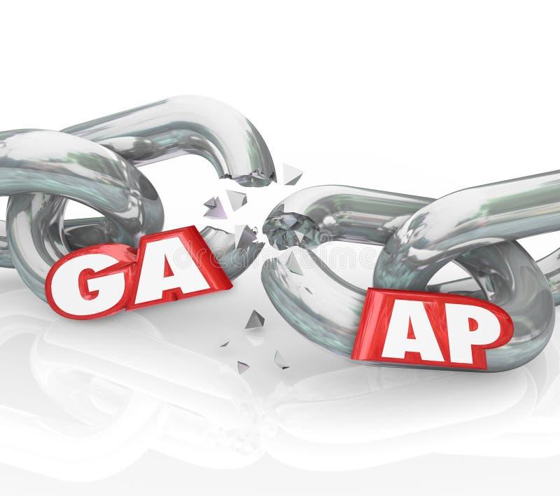 GAAP通常承认的会计原理打破的链子Viol 皇族释放例证