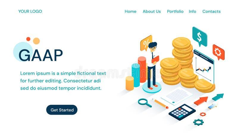 GAAP -通常承认的会计原理网站模板 皇族释放例证