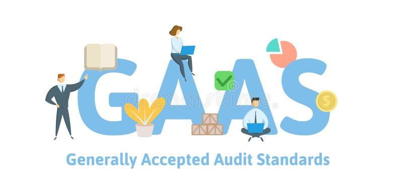 GAAS,通常承认的审计标准 与主题词、信件和象的概念 平的传染媒介例证 库存例证