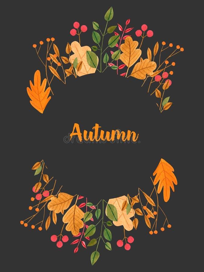 Gaat de waterverf eenvoudige herfst weg en vertakt zich bloemenkader royalty-vrije illustratie