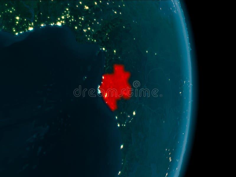 Gabón en la noche ilustración del vector
