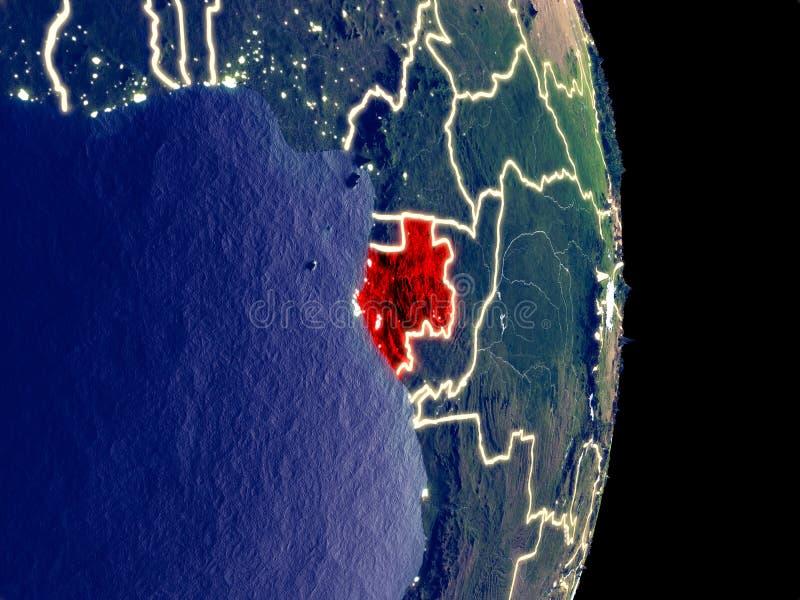 Gabón en la tierra de la noche ilustración del vector