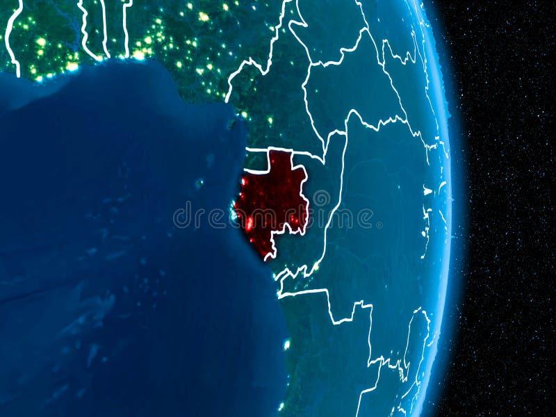 Gabón en rojo en la noche ilustración del vector