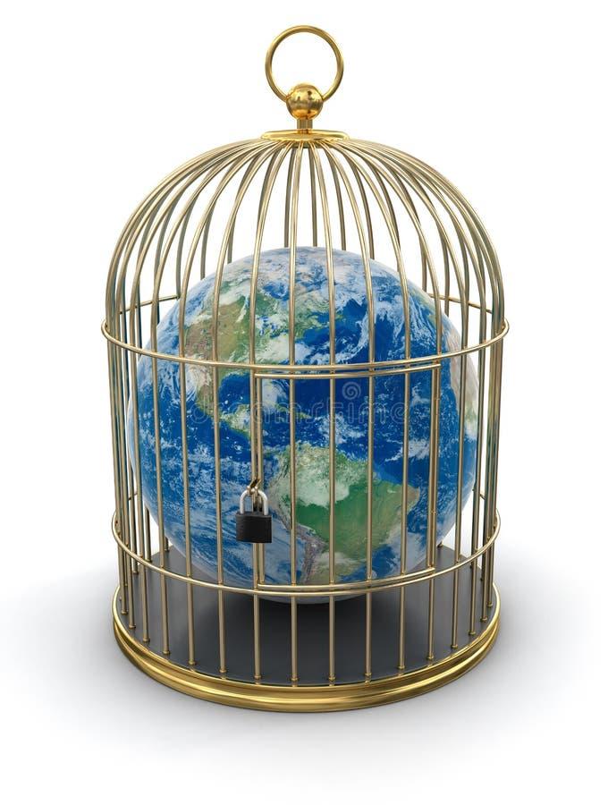 Gabbia dell'oro con il globo (percorso di ritaglio incluso) royalty illustrazione gratis