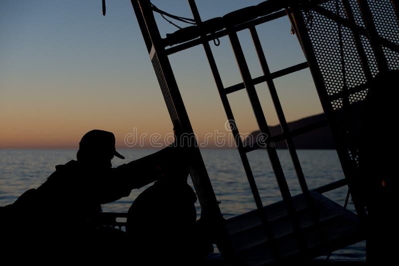 Gabbia dello squalo per osservare grande bianco immagini stock libere da diritti
