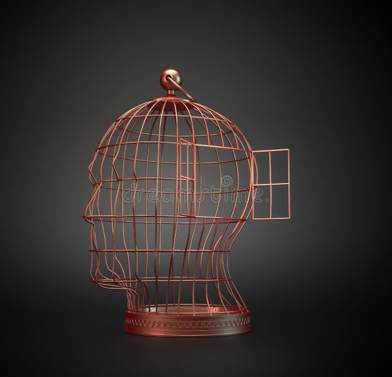 Gabbia di uccello della testa umana fotografia stock libera da diritti