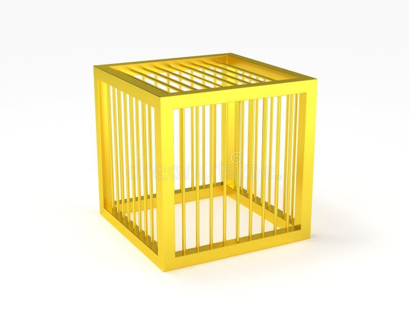 Gabbia dorata isolata illustrazione vettoriale