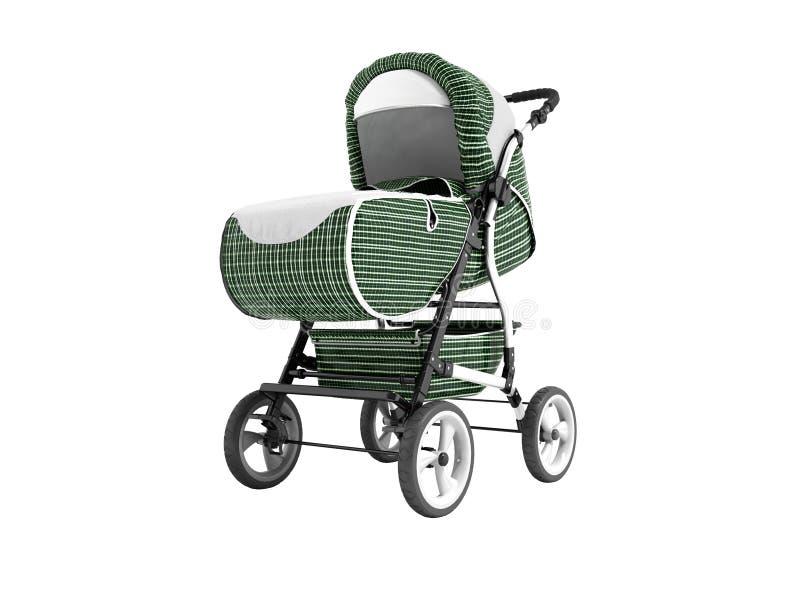 Gabbia metallica di camminata moderna di verde del passeggiatore di bambino con le inserzioni bianche con il supporto della tasca illustrazione di stock