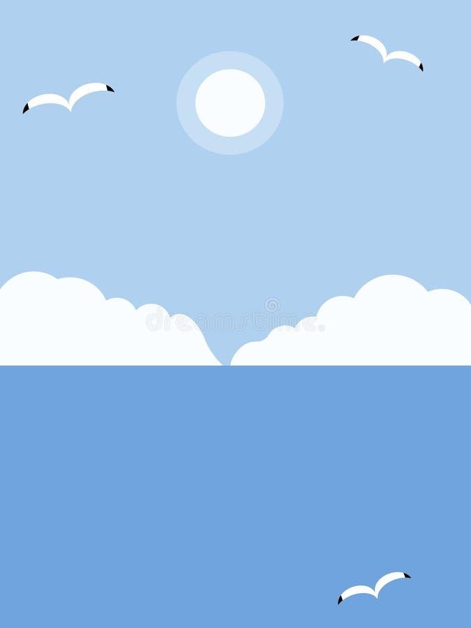 Gabbiani che sorvolano il mare illustrazione vettoriale