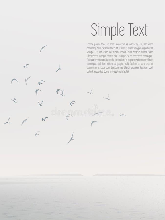 Gabbiano grigio degli uccelli della siluetta sul cielo illustrazione di stock