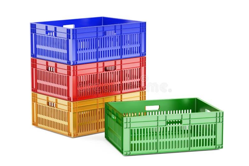 Gabbie di plastica colorate pila, rappresentazione 3D illustrazione di stock