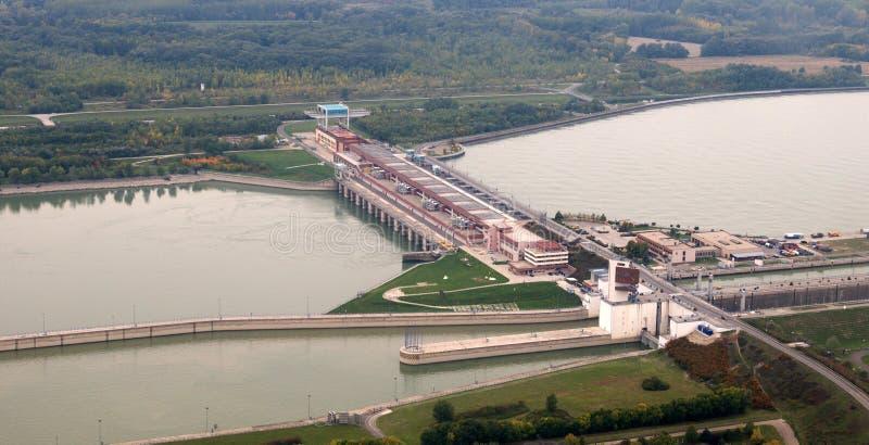 Gabcikovo dam Aerial view stock image