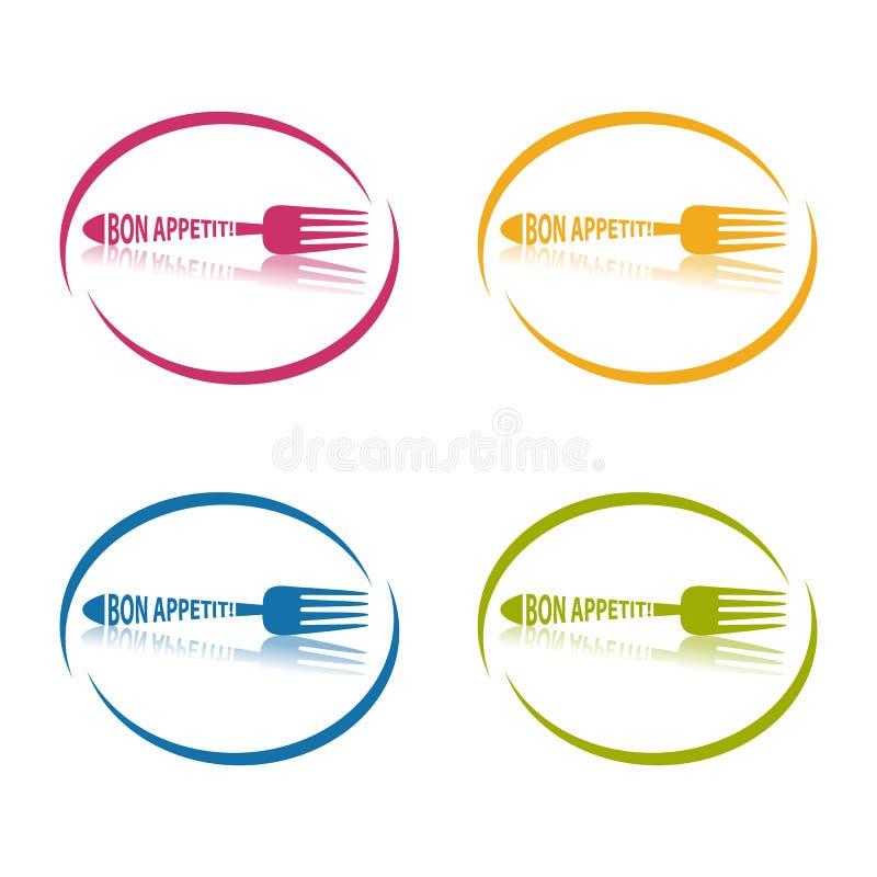 Gabel Bon Appetit - Kreisrestaurant-Symbol - bunte Vektor-Illustration - lokalisiert auf Weiß vektor abbildung