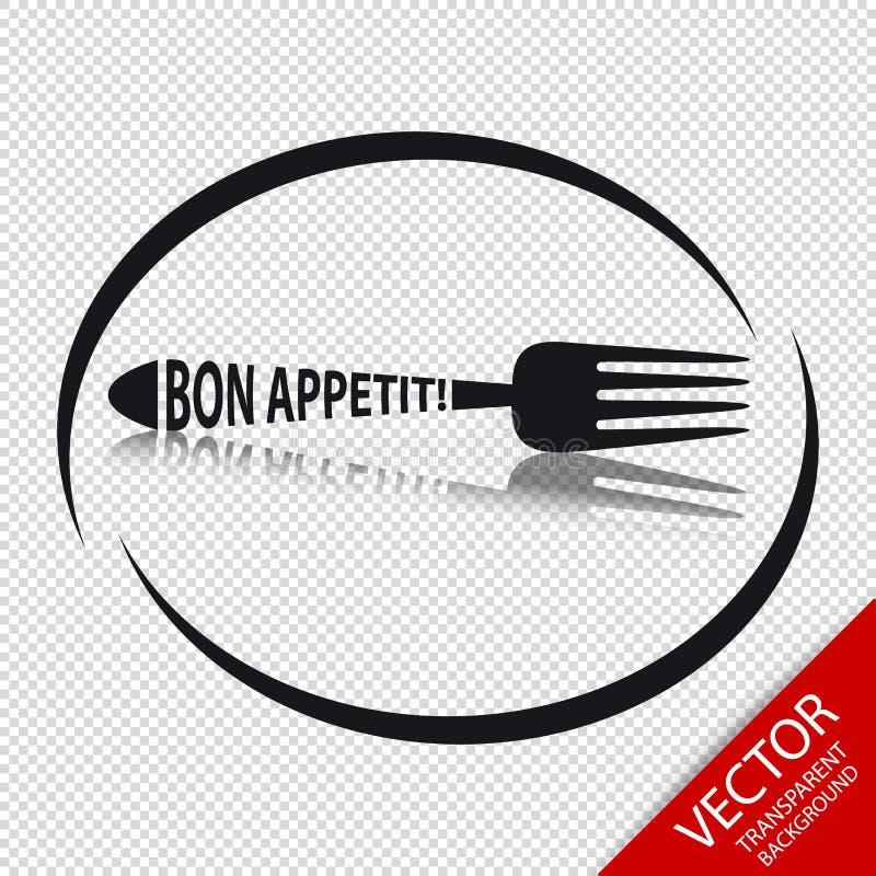 Gabel-Ikone Bon Appetit - Kreisrestaurant-Symbol - lokalisiert auf transparentem Hintergrund lizenzfreie abbildung