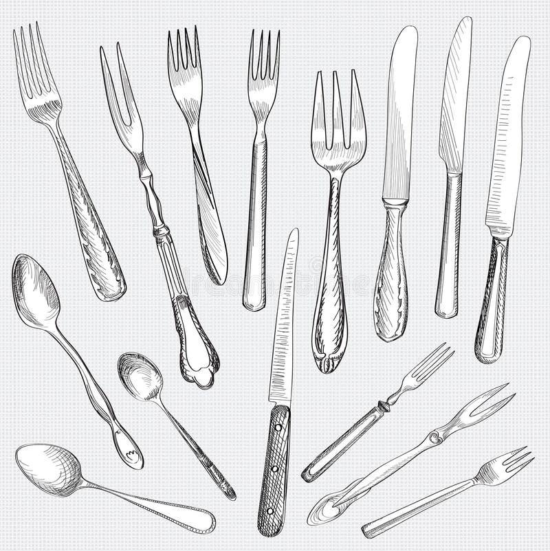 Gabel, Messer, Löffelhandzeichnungs-Skizzensatz. stock abbildung