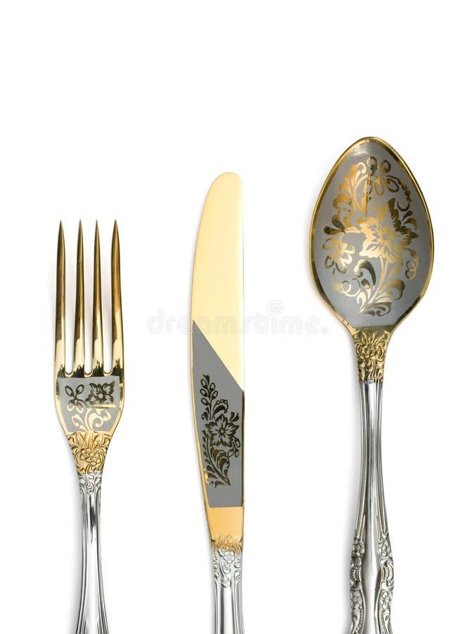 Gabel, Messer und Löffel stockbild