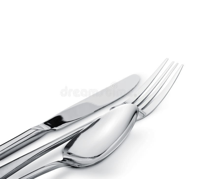 Gabel, Messer und Löffel stockfotografie