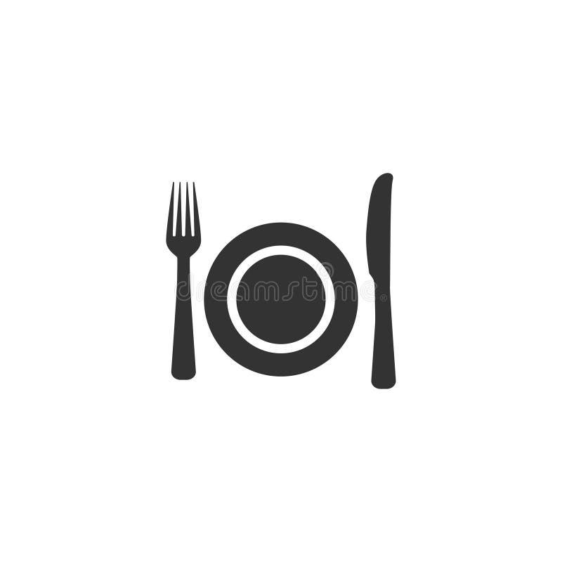Gabel-, Platten- und Messerikone im übersichtlichen Design Auch im corel abgehobenen Betrag lizenzfreie abbildung