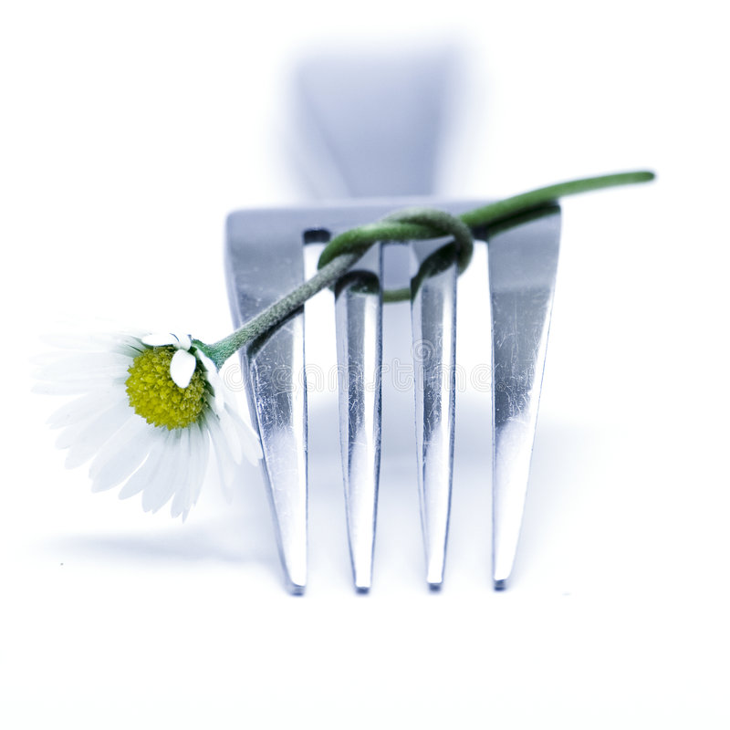 Gabel und Blume lizenzfreie stockfotos