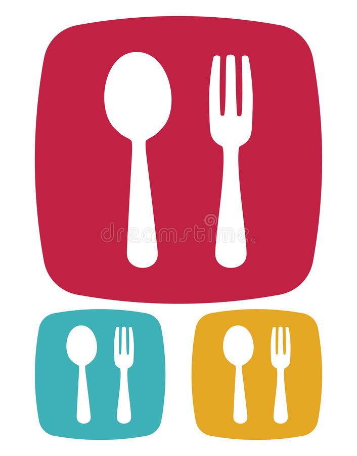 Gabel- und Löffelikone - Restaurantzeichen stock abbildung
