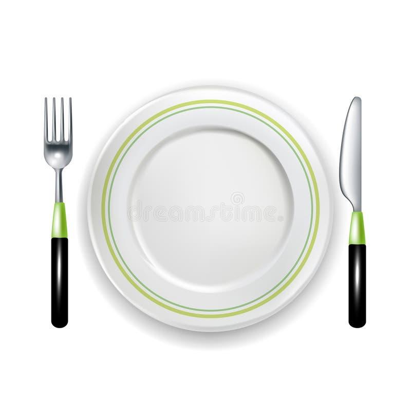 Gabel und Messer mit der Platte lokalisiert auf Weiß lizenzfreie abbildung