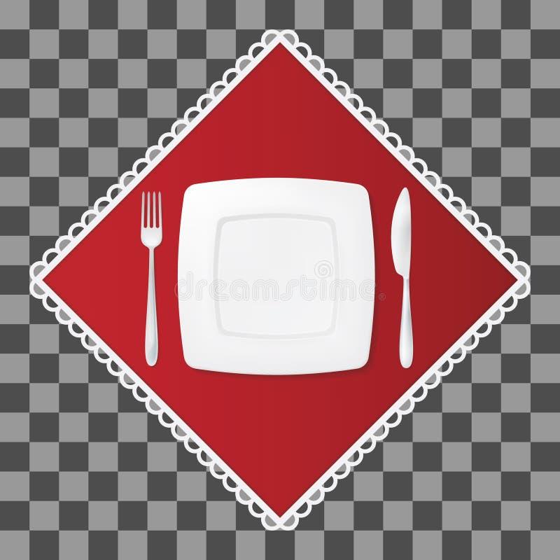 Gabel und Messer mit einer quadratischen Platte auf roter Serviette Tischbesteck- und Tellergedeck Vektor illustraion stock abbildung