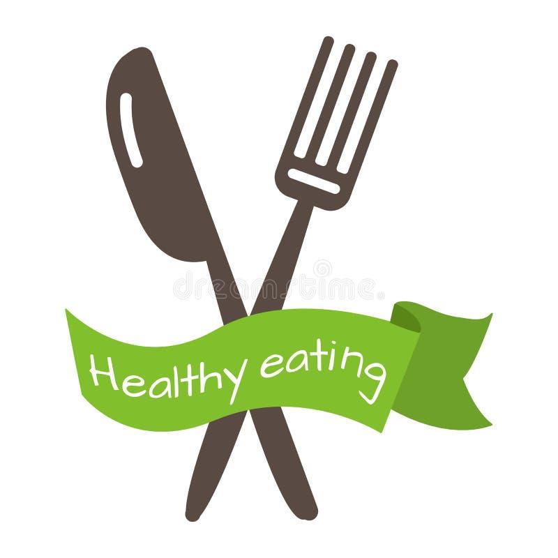Gabel und Messer mit grünem Band mit der Aufschriftgesunden ernährung Vektor vektor abbildung