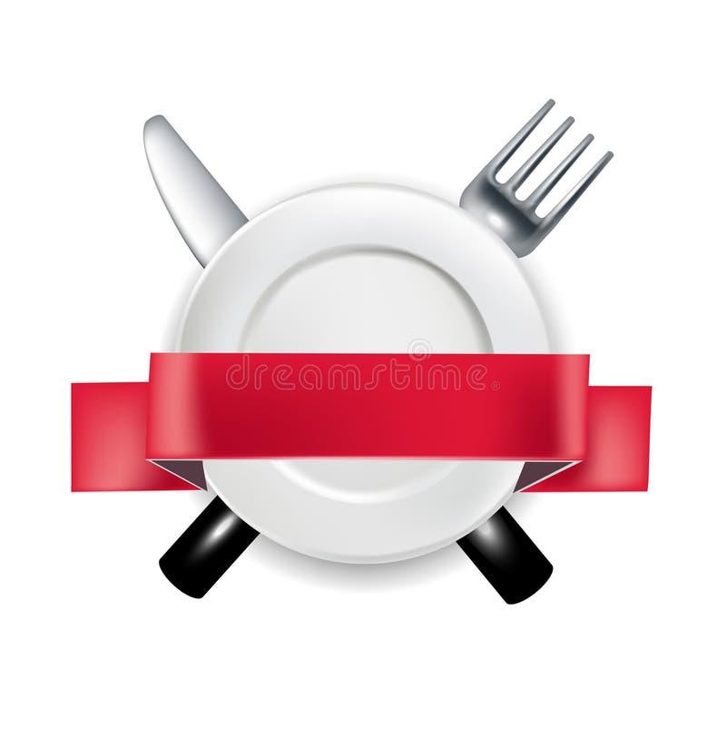 Gabel und Messer mit Platte und rotem Bandfahne illustrat lizenzfreie abbildung