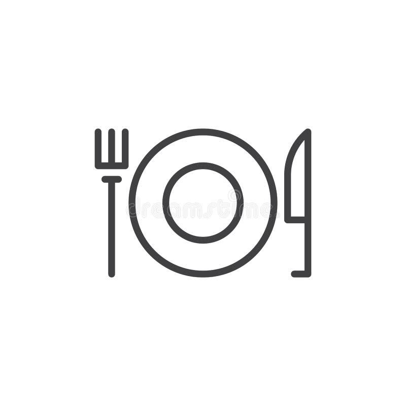 Gabel und Messer mit Platte zeichnen Ikone, Entwurfsvektorzeichen, das lineare Artpiktogramm, das auf Weiß lokalisiert wird vektor abbildung