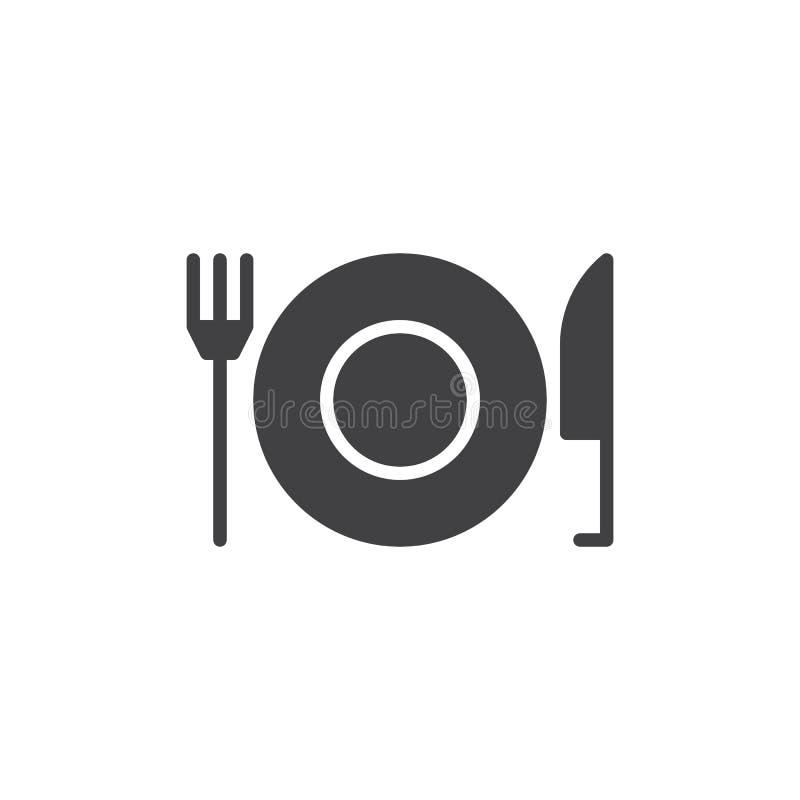 Gabel und Messer mit Plattenikone vector, gefülltes flaches Zeichen, das feste Piktogramm, das auf Weiß lokalisiert wird stock abbildung