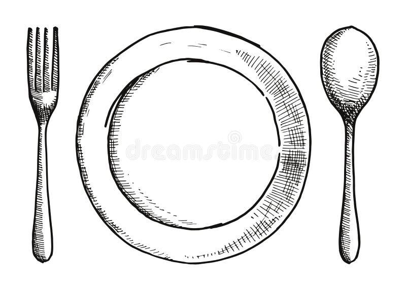 Gabellöffel und eine Platte der Handzeichnung Tischbesteckvektorillustration lizenzfreie abbildung