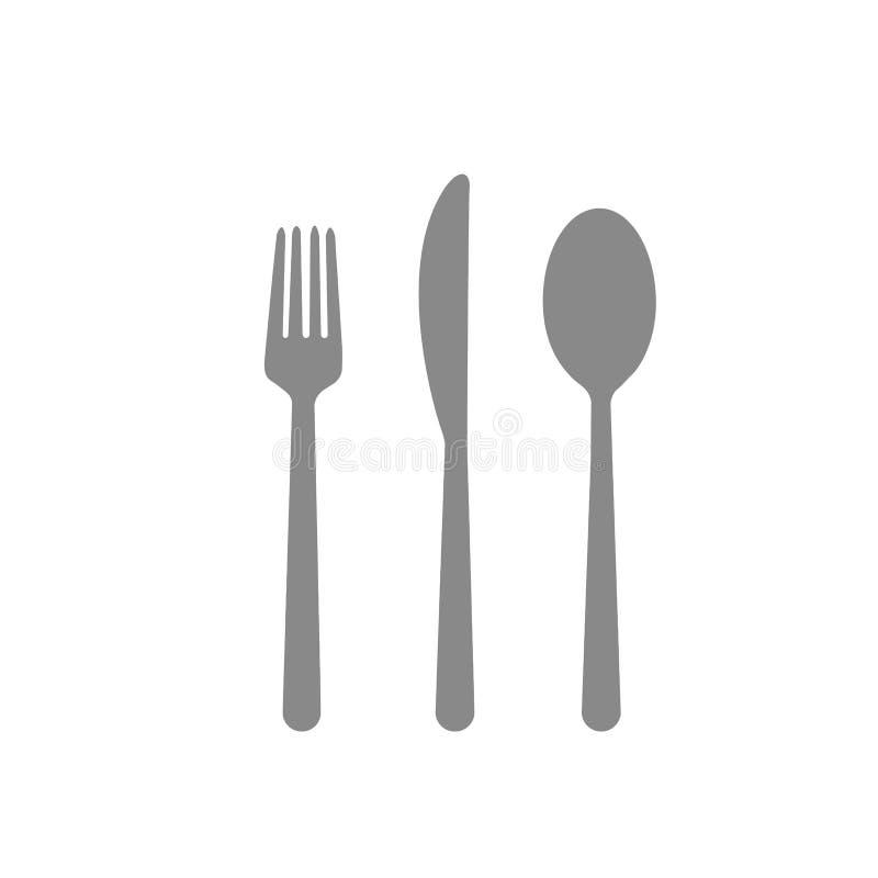 Gabellöffelmessercaféessentischbesteckrestaurantessenabendessengrau auf weißem Hintergrund lizenzfreie abbildung
