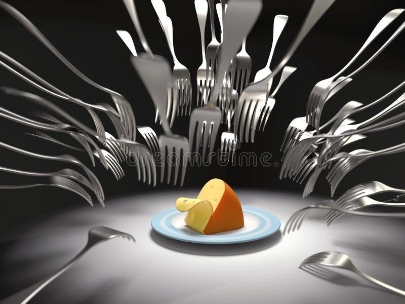 Gabeln nehmen einen Käse in Angriff lizenzfreie abbildung