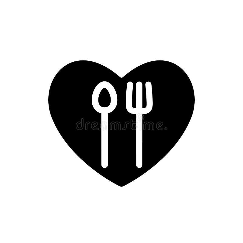 Gabeln Sie und löffeln Sie weiße einfache Schattenbilder in der schwarzen Formikone des Herzens Tischbesteck in Ihrer Küchenentwu stock abbildung