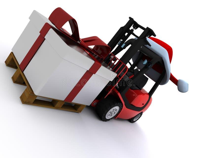 Gabelstapler mit Weihnachtsgeschenkkasten stock abbildung
