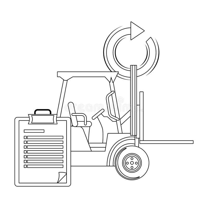 Gabelstapler und Checkliste in Schwarzweiss stock abbildung