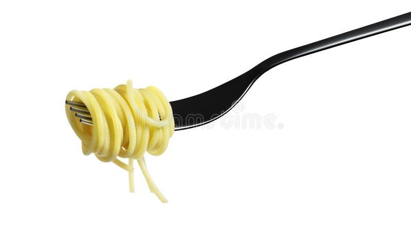 Gabelteigwarenspaghettis lokalisiert auf Weiß stockfotos