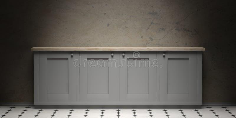 Gabinet na ceramicznych płytek podłoga i starym popielatym cement ściany tle, kopii przestrzeń, frontowy widok ilustracja 3 d ilustracja wektor