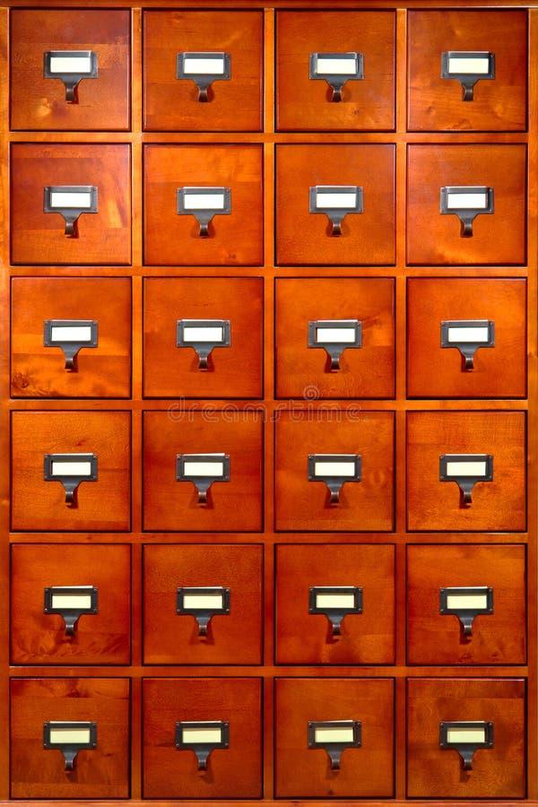 Gabinete da biblioteca da gaveta fotografia de stock