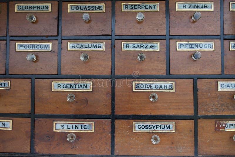 Gabinete De Cajones Con Las Etiquetas Del Vintage Foto de archivo ...