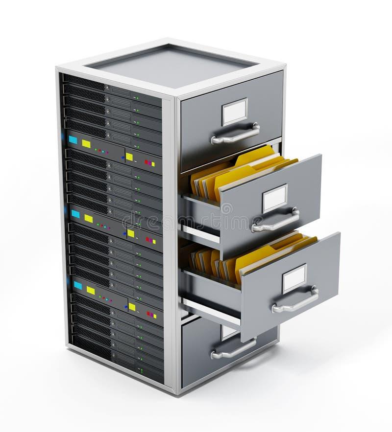 Gabinete de fichero combinado con el servidor de red ilustración 3D stock de ilustración