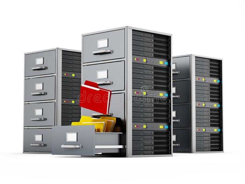 Gabinete de fichero combinado con el servidor de red ilustración 3D ilustración del vector