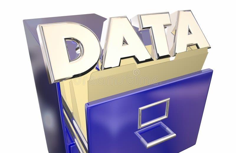 Gabinete de fichero del acceso de información del almacenamiento de datos stock de ilustración
