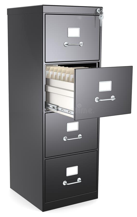 Gabinete de fichero negro. stock de ilustración