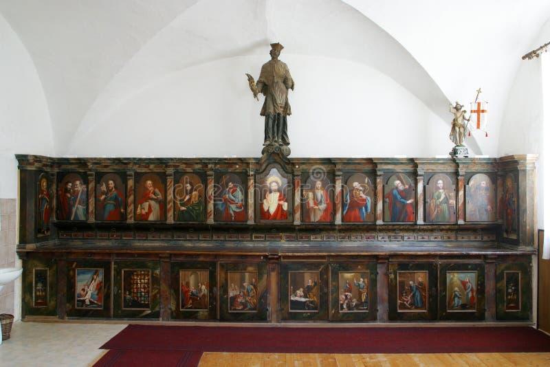 Gabinete de la sacristía, iglesia de la Inmaculada Concepción en Lepoglava, Croacia imágenes de archivo libres de regalías