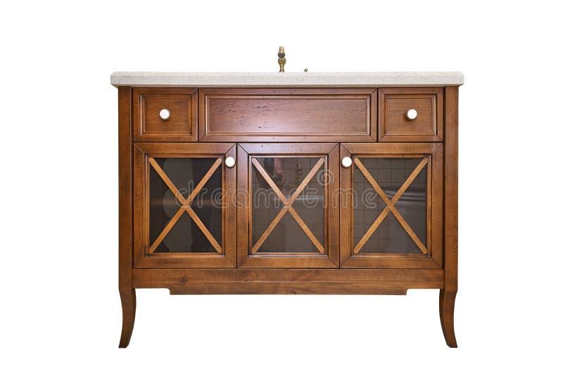 Gabinete de la vanidad del cuarto de baño con la encimera de acrílico aislada en el fondo blanco Estilo rural Muebles de los deta fotos de archivo