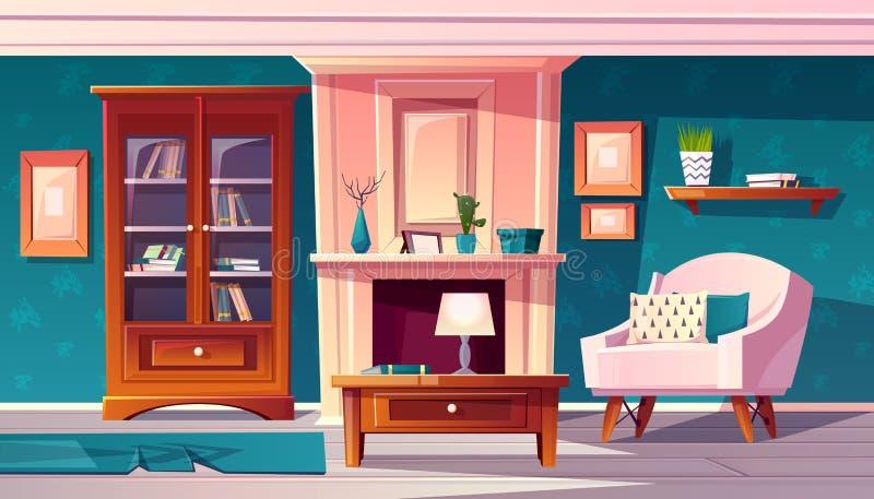 Gabinete de lujo del vector con el escritorio Interior costoso libre illustration